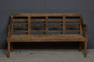 Tall Backed Dutch Colonial Teak Bench