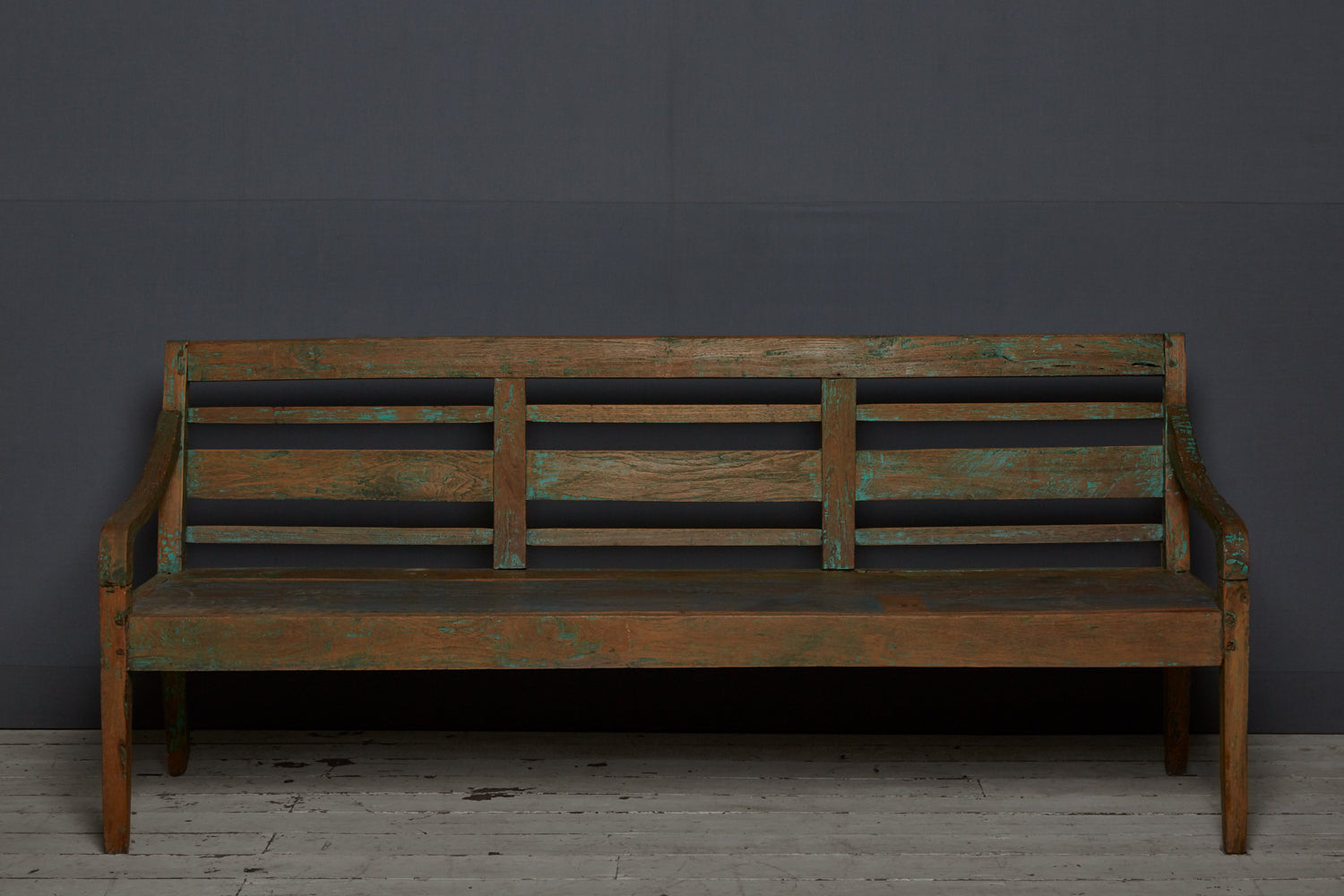 Slat Back Dutch Colonial Teak Bench from Jakarta