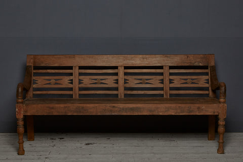 Classic Strong Dutch Colonial Teak Bench from Java Island