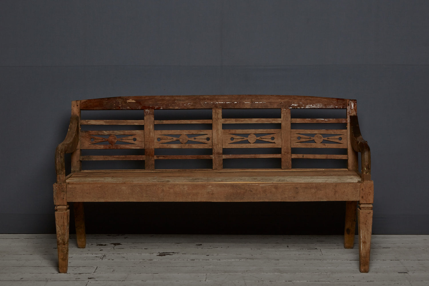 Classic Dutch Colonial Teak Bench from Java