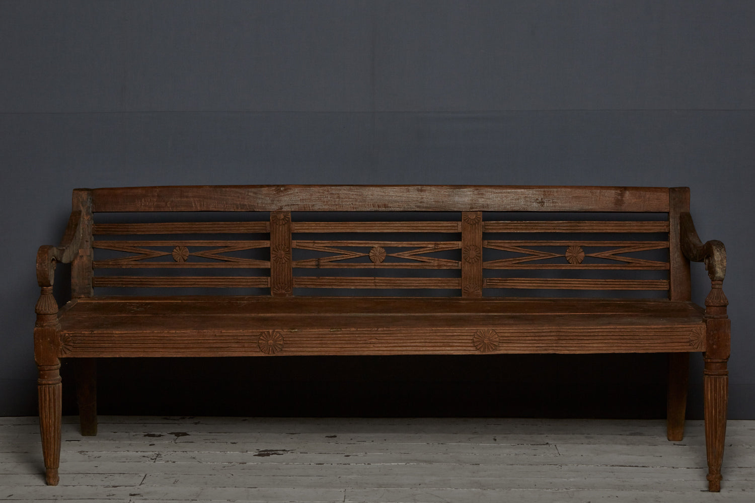 Raffles Style Dutch Colonial Teak Bench from Jakarta