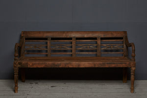 Teak Dutch Colonial Turned Leg Bench from Java
