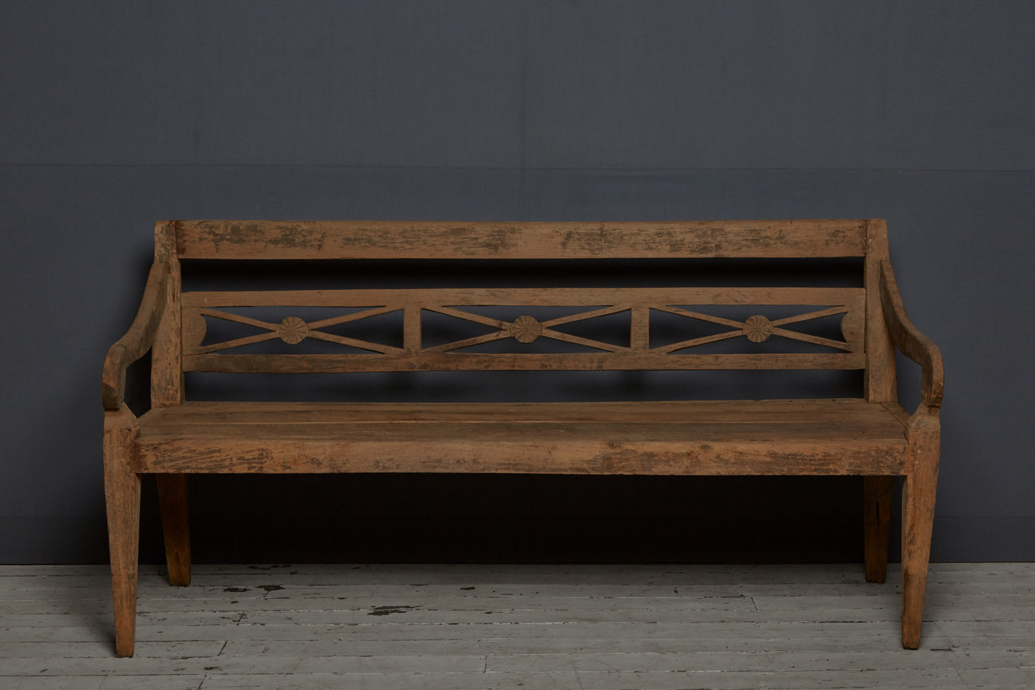 X-Back Dutch Colonial Teak Bench from Sumatra