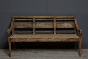 Deep Seated Dutch Colonial Teak Bench from Sumatra