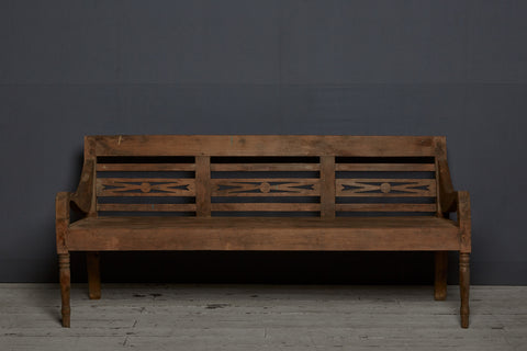 Classic Style Dutch Colonial Teak Bench with Madura Island Arms