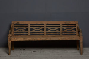 Dutch Colonial Teak Bench with Classic Panel Back