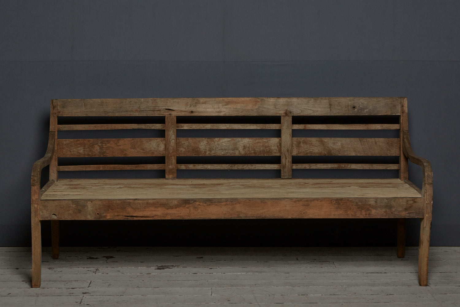 Slat Back Teak Dutch Colonial Bench from Sumatra Island