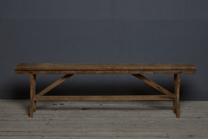 19th Century Dutch Colonial Teak Flat Bench with Tressel Base
