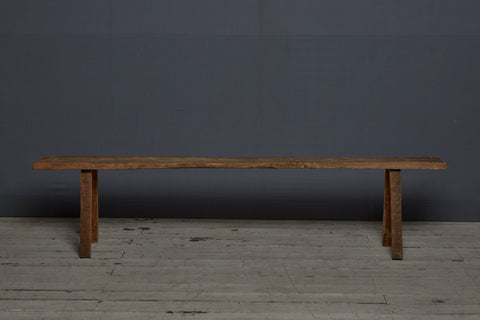Long Teak Flat Bench with Splay Legs