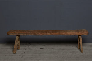 Wonderful Primitive Thick Topped Teak Bench