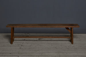 Stretcher Based Flat Topped Teak Bench from Jakarta