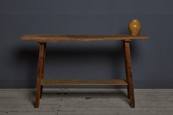 Teak Console Table with Lower Shelf