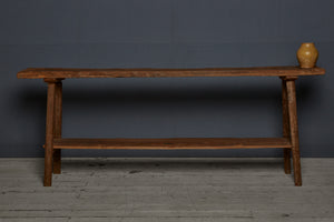 Long Teak Dutch Colonial Console Table with Lower Shelf