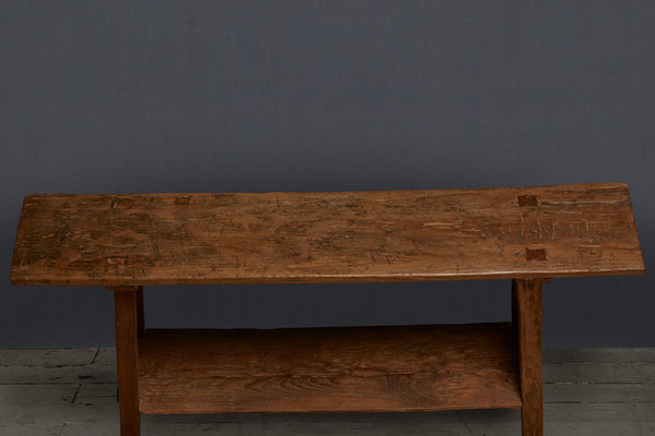 Teak Console Table from Java Island with Lower Shelf
