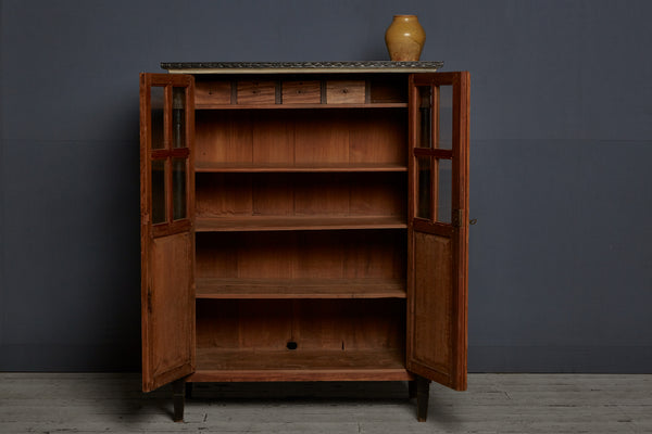 1930's Dutch Colonial Small Teak & Ebonized Cabinet