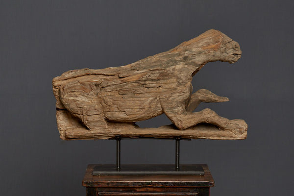 Ancient Mounted Tiger Carving from Java