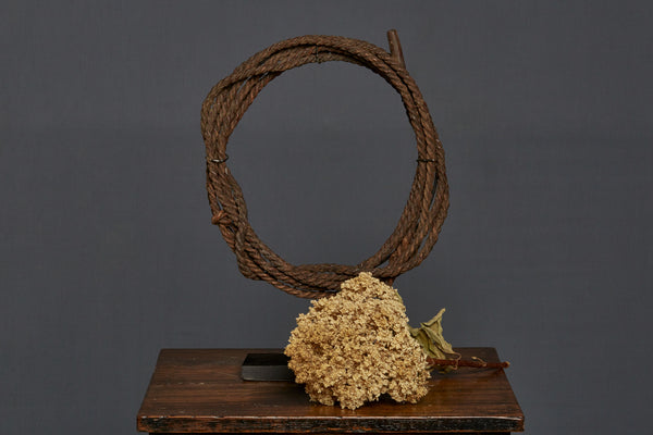 Mounted Rattan Lariat on a Stand