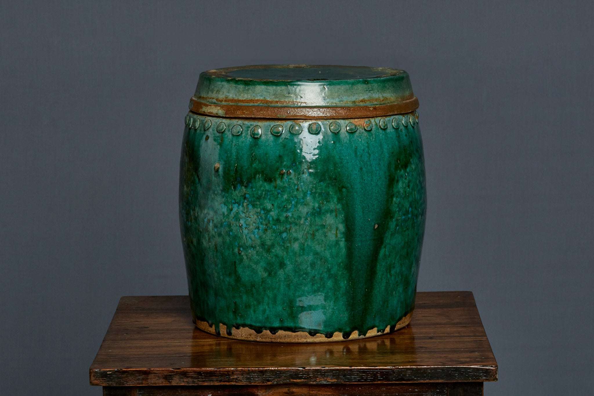 19th Century Covered Green Glaze Borneo Storage Jar