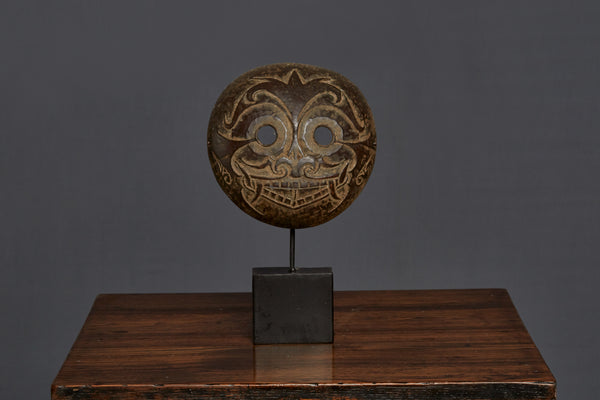 Mounted Carved Coconut Mask from Timor