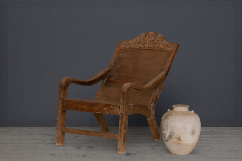 Dutch Colonial Teak Lounge Chair with Carved Crested Back
