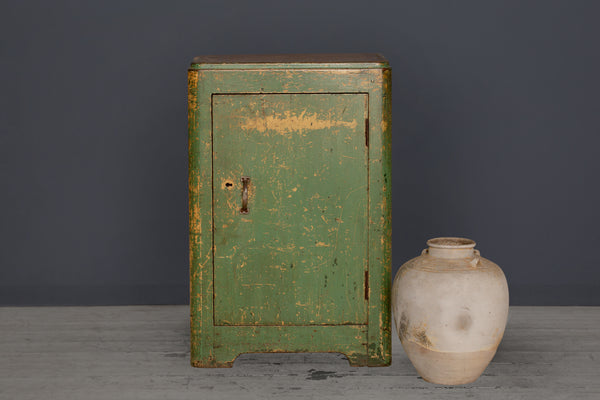 Deco Green Painted Teak Cabinet From Jakarta