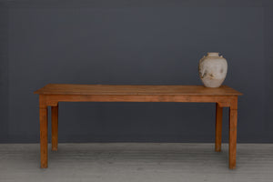 Long Narrow Teak Dutch Colonial Dining Table with Shaped Skirt
