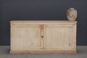 19th Century Long French Cream Painted Buffet
