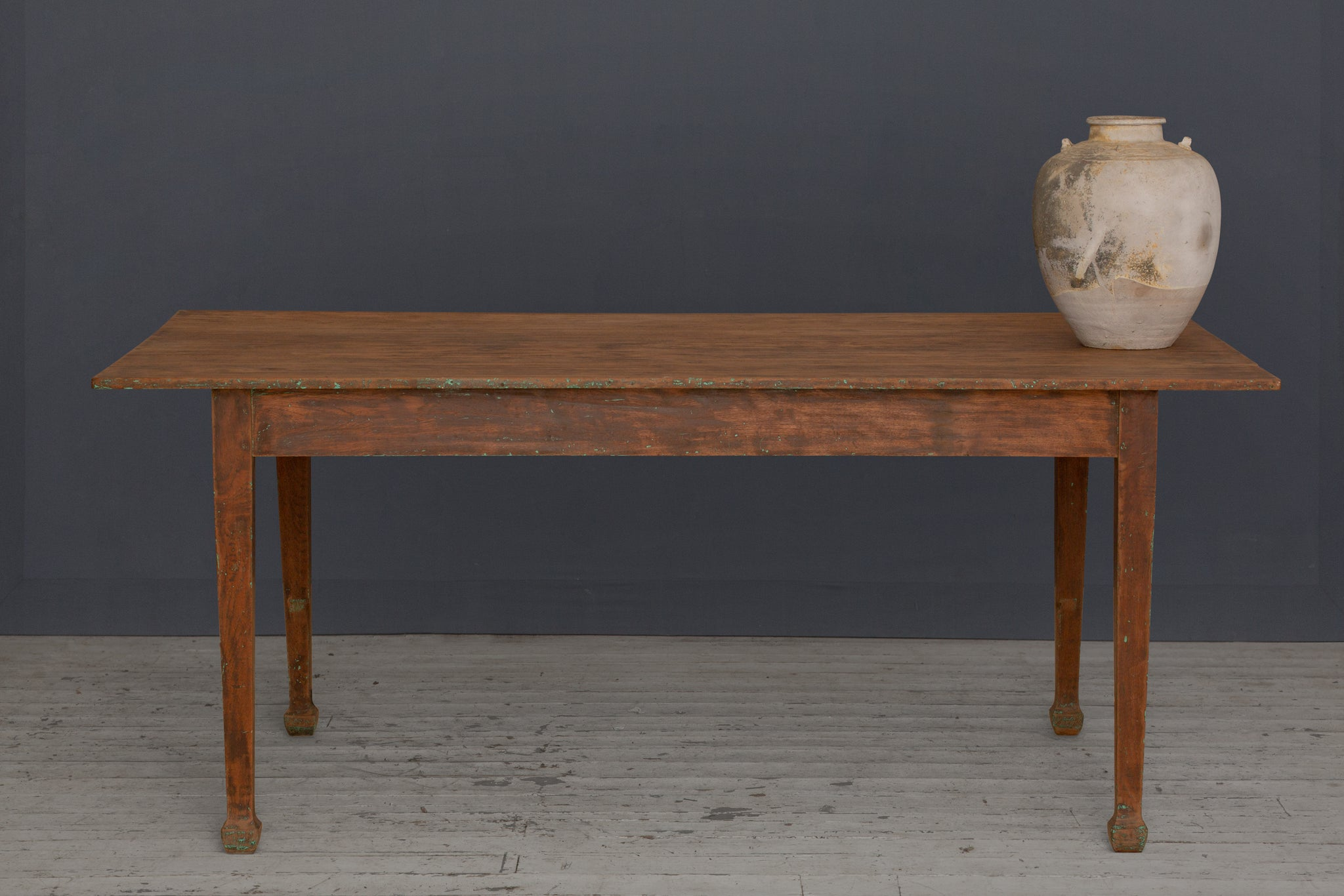 Dutch Colonial Teak Dining Table with Tapered Legs