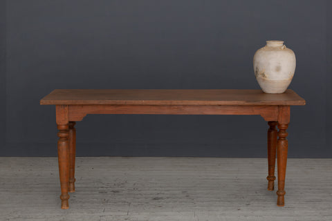 19th Century Teak Dutch Colonial Dining Table with Turned Legs