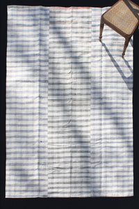 Blue And White Checked Goat Hair And Hemp Carpet (5' 9'' x 9' 4'')