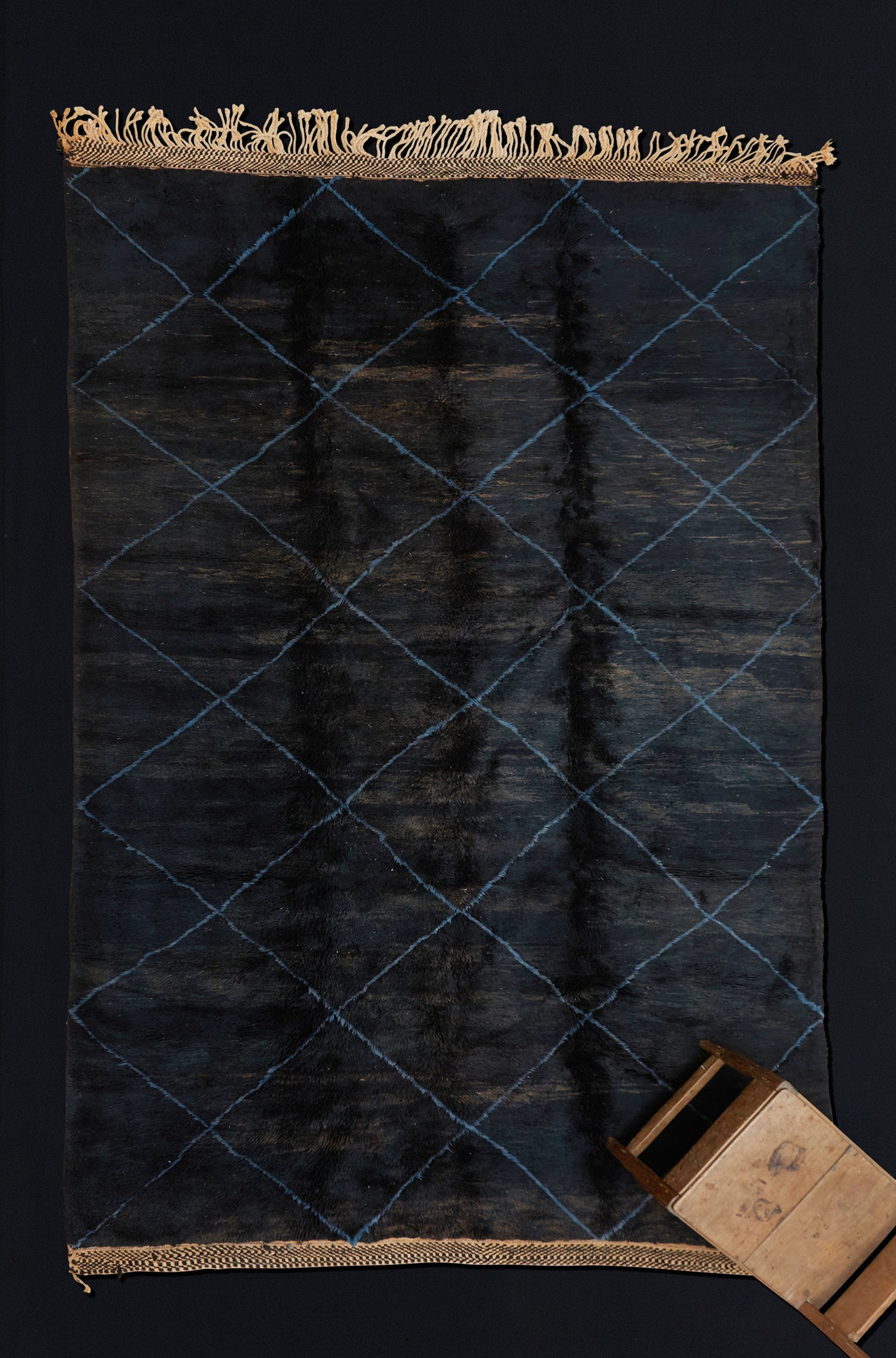Large Black Background  Beni Ourain with Indigo Diamonds ................... (8'x12'5'')