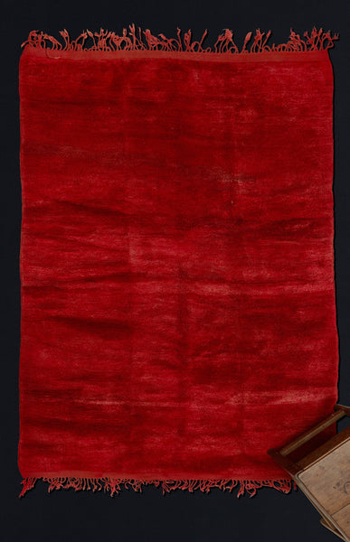 Medium Sized All Red Chichaoua Carpet with Fringe on Both End ................... (5'8''x7'10'')