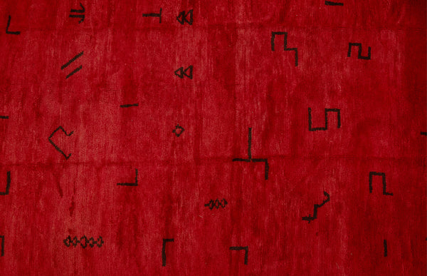 Medium Sized Red Chichaoua Carpet with Random Floating Geometrics  ................... (6'7''x9'2'')