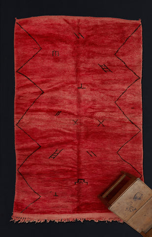 Medium Sized Red Chichaoua Carpet with Zodiac and Zig Zag .................. (5'8''x9'3'')