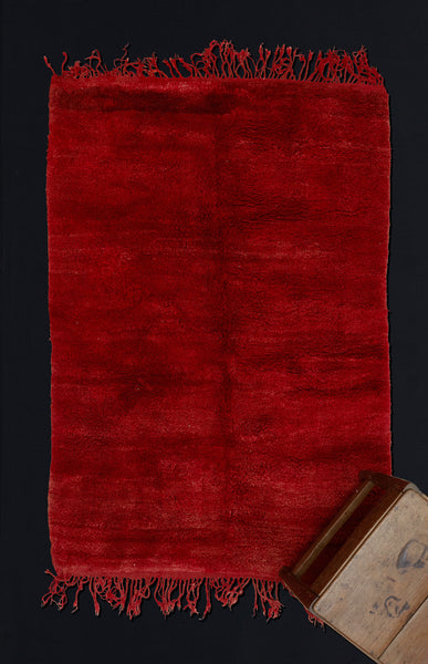 Small Red Field Chichaoua Carpet with Thick Pile  ................... (4'x 5'11'')