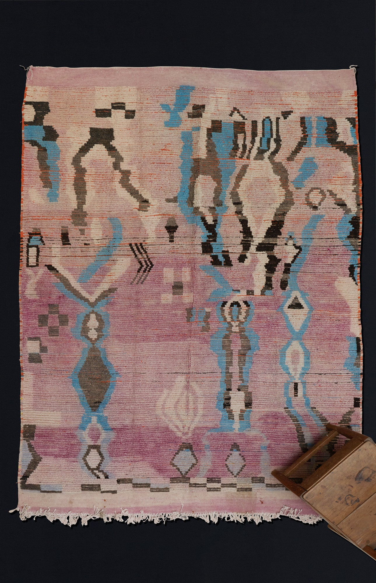 Lilac, Blue and Black Wild Decoration Chichaoua Carpet ................... (6'7''x9'4'')