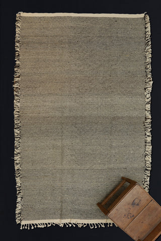 Natural Black and Cream Medium Sized Zennephi Carpet with Tight Geometric Pattern   .................. (5'3''x8'9'')