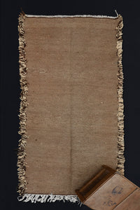 "Small Natural Brown and Cream Zeneifi Carpet with Heavy Fringed Edges  ................... (3'6""x7'6'')"
