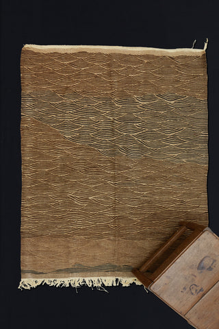 Small Natural Brown and Cream Zenniphi Carpet with Wave Pattern ...............(4'x5'2'')