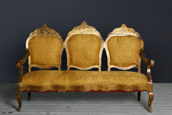 19th Century Ventian Sofa, in Old Yellow Silk Damacus