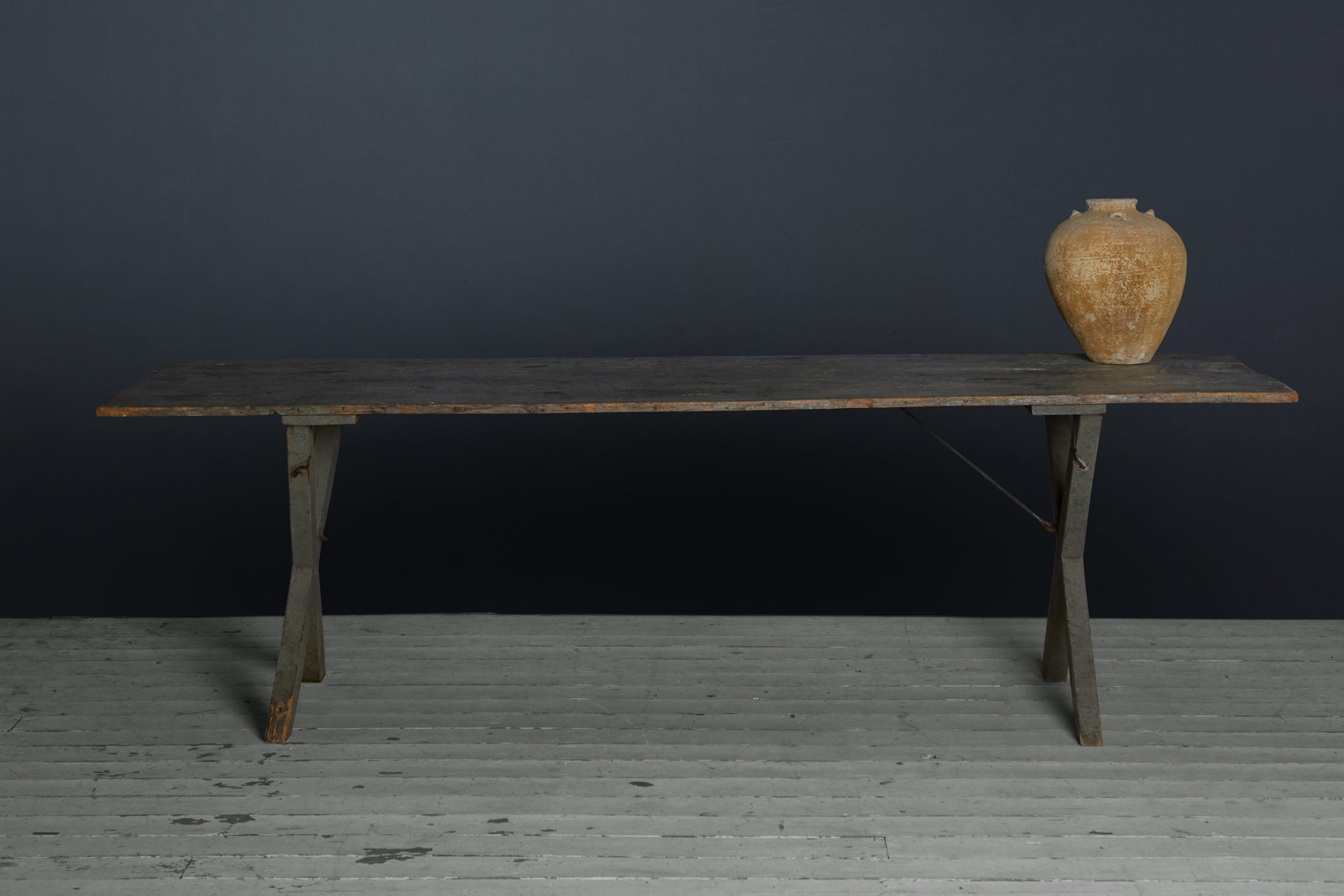 American Painted Pine Tressle Table from New England