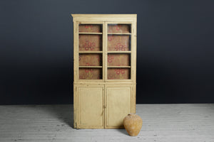 19th Century Thin French Cabinet in Yellow Paint