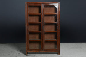 Teak Dutch Colonial Glass Front Cabinet