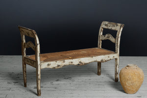 19th Century White Painted Hall Bench from Barcelona