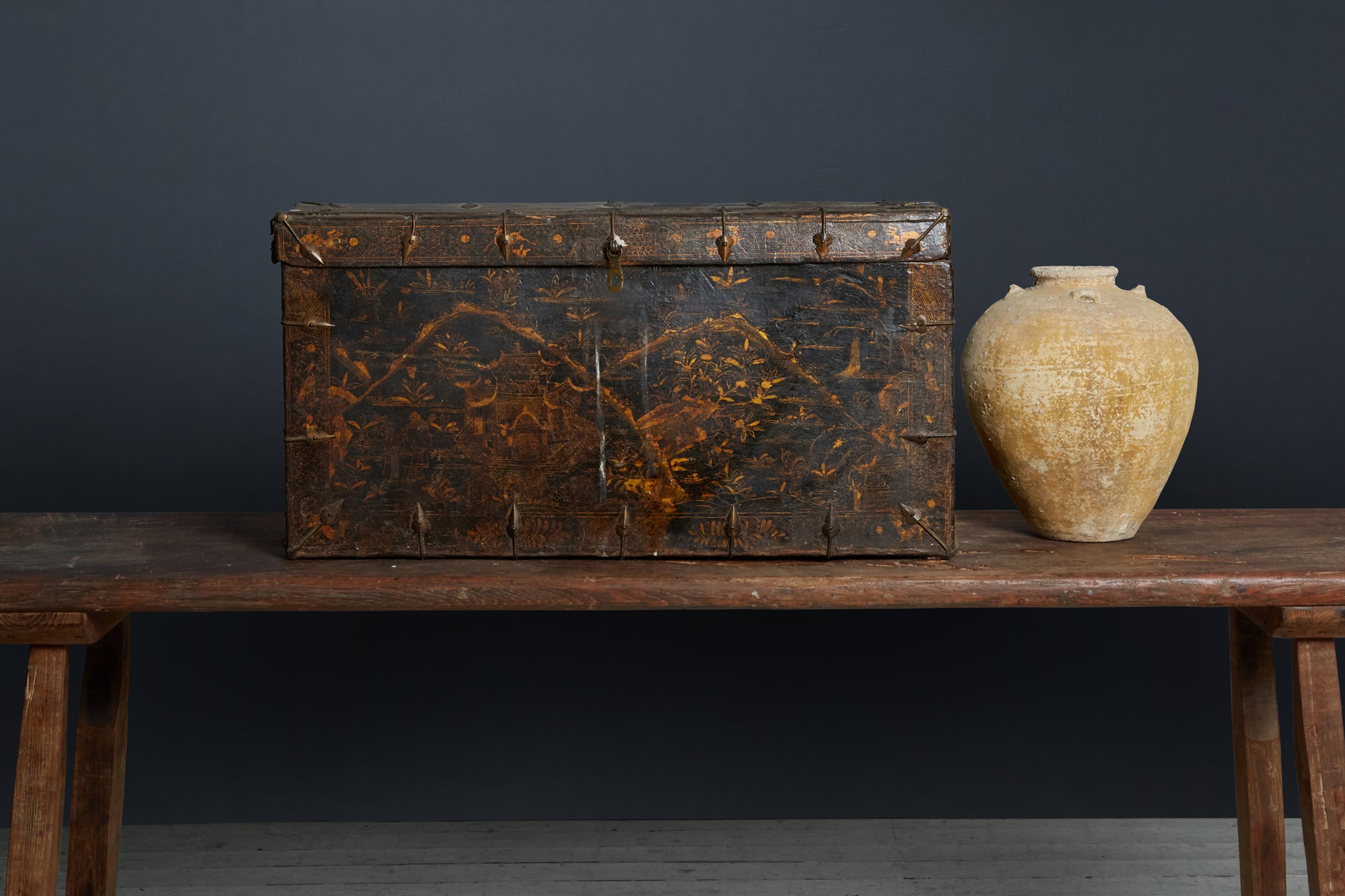 18th Century Tibetian Chest from a Buddest monastery Chinozeri Decoration