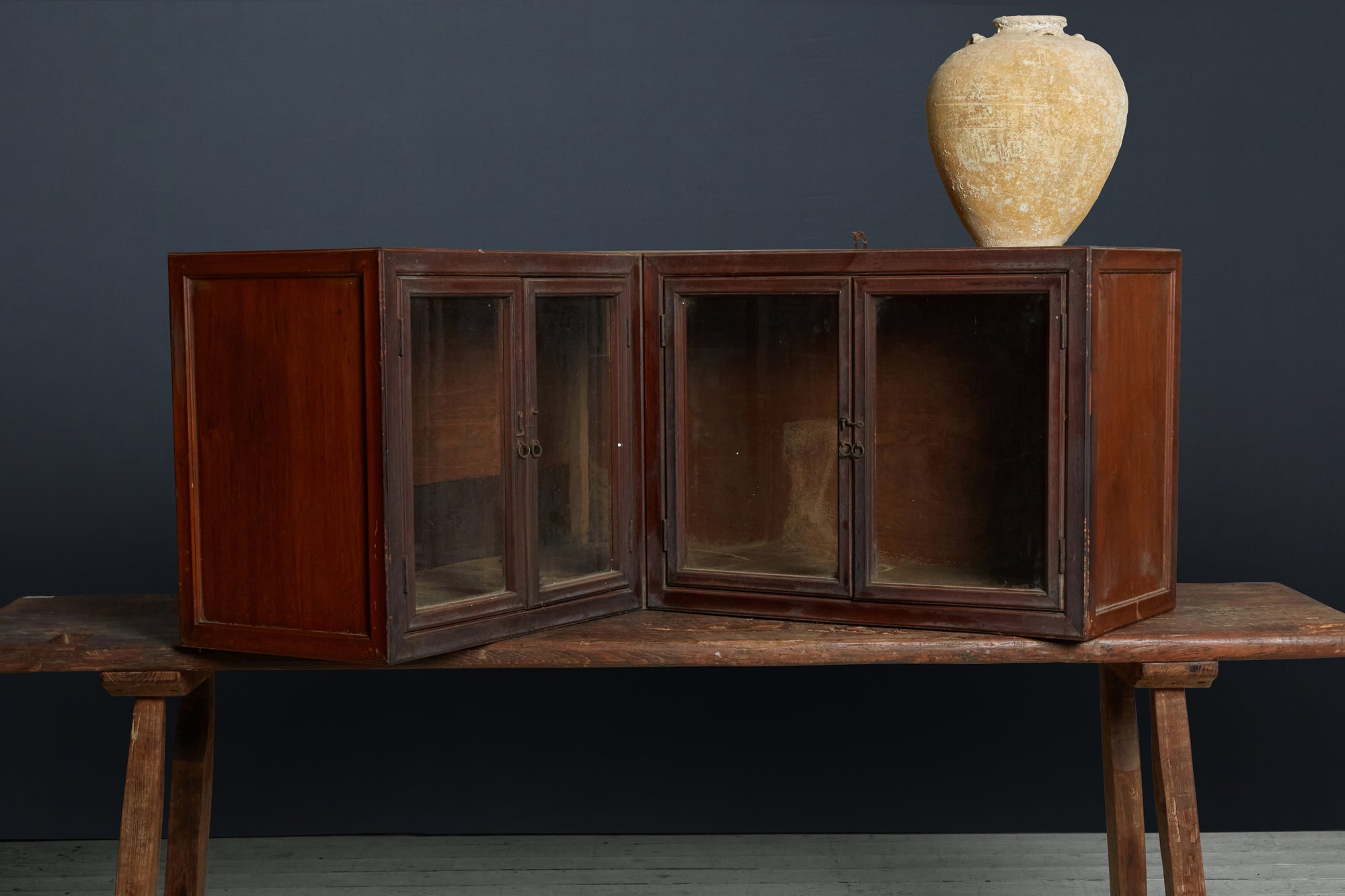 19th Century Teak Hanging Corner Apothocary Cabient from Jakarta