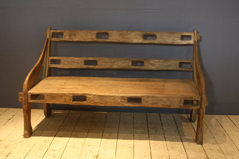 Early Primitive Pierced Back Small Teak Bench