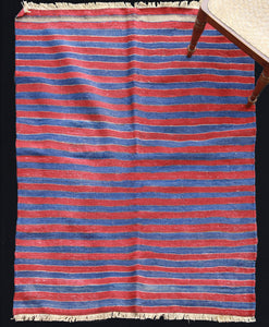Aubuelu Red & Blue Stripe Wool Carpet ........ (3' 11'' x 5' 5'')