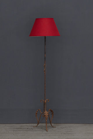 Wrought Iron Spanish Floor Lamp with Leaf Decoration at the Base