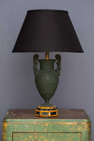 Neapolitan Bronze Grand Tour Urn on a Marble Inlay Base as a Lamp